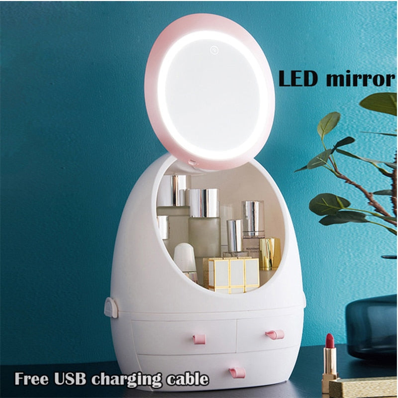 Makeup Organizer case Cosmetic Storage Box and Waterproof Mirror LED Light
