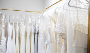 Rack featuring a variety of bridal wear