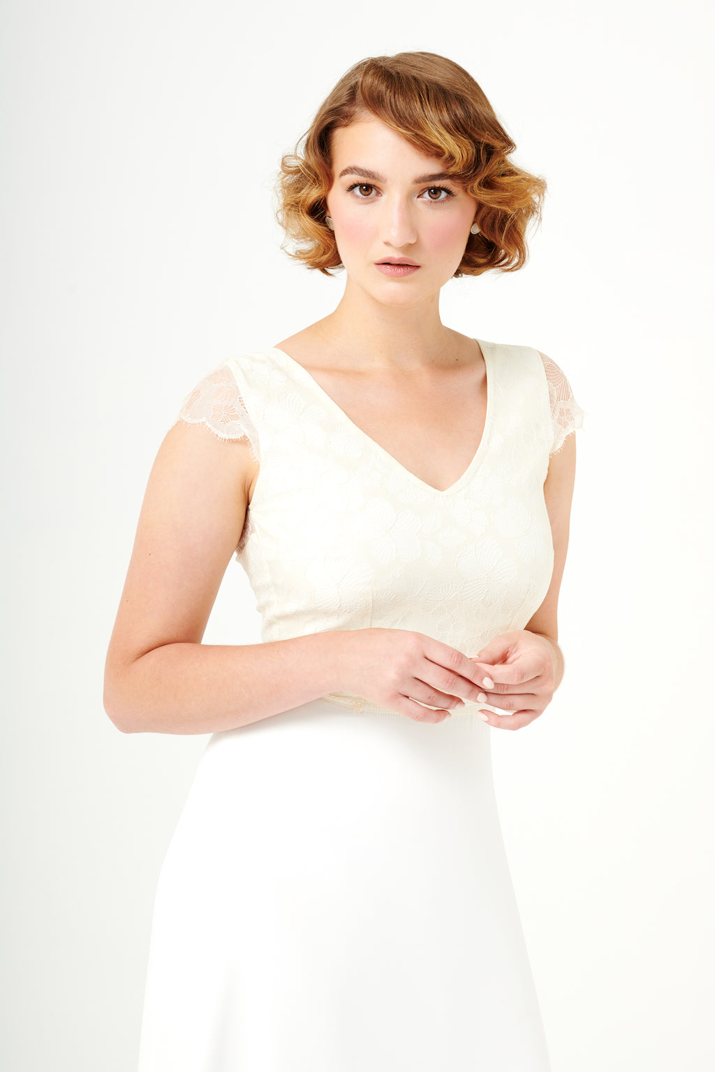 Roses | V-Neck Lace Bridal Top | Cream
