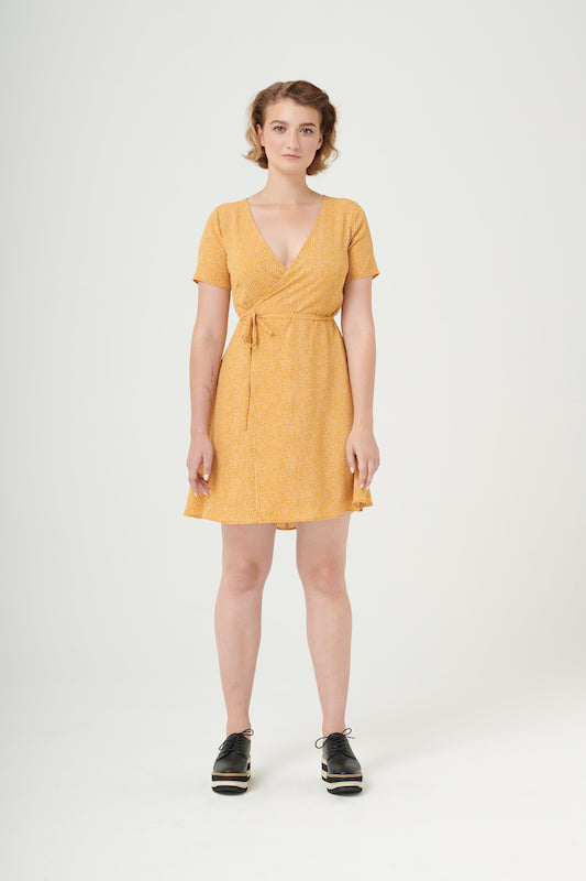 Graceland | Crepe Wrap Dress | Yellow