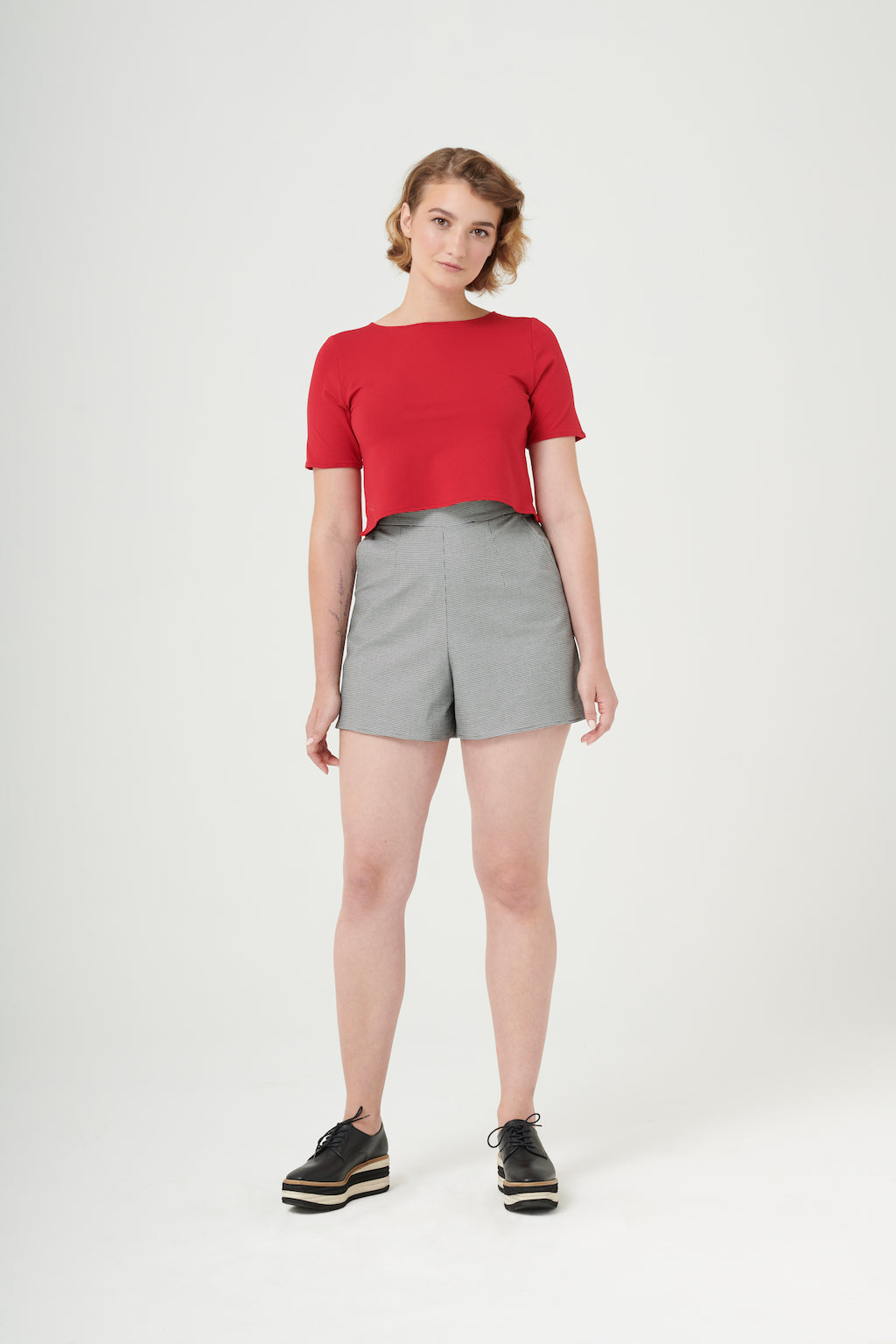 Cecilia | Boxy Crop Top | Cherry Red