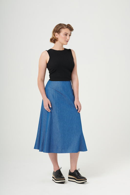 Super Freak | Midi A-Line Skirt | Denim