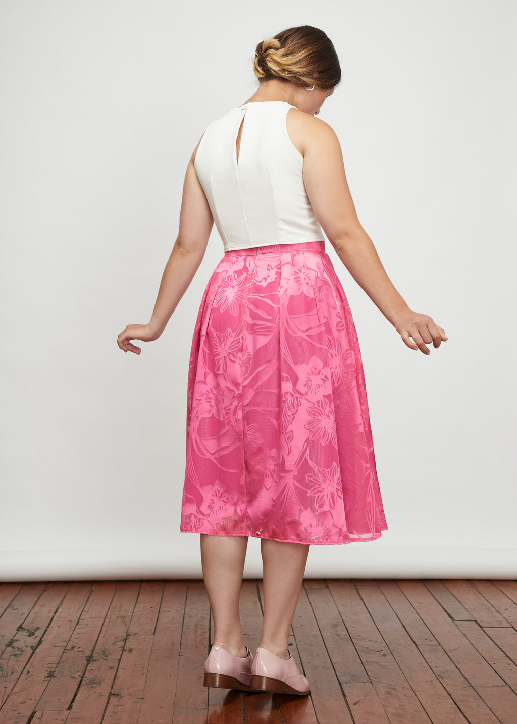 Irresistible | High-Waisted Midi Skirt | Pink