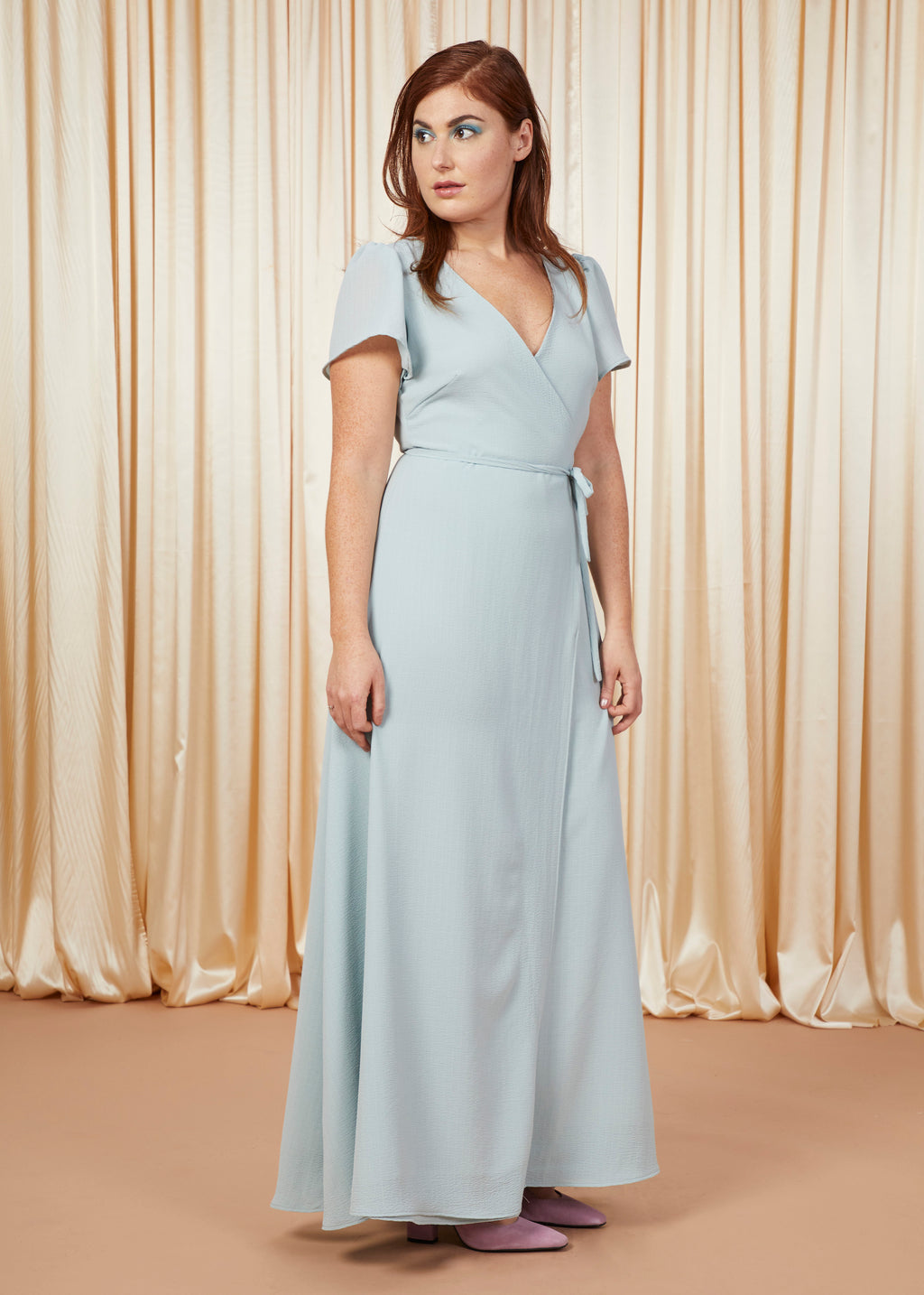 Amazing Grace | Chiffon Wrap Gown | Eggshell Blue