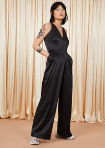 Heart of Glass | Satin Jumpsuit | Black