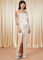 Man Eater | Satin Fitted Gown | Olive