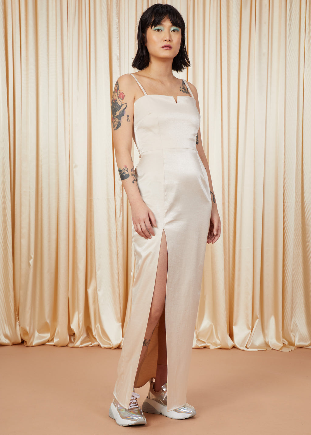 Man Eater | Satin Fitted Gown | Champagne
