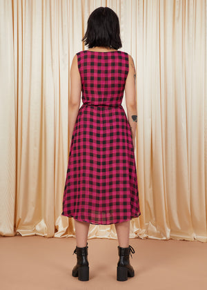Loose Lips | Wrap Midi Dress | Magenta Plaid