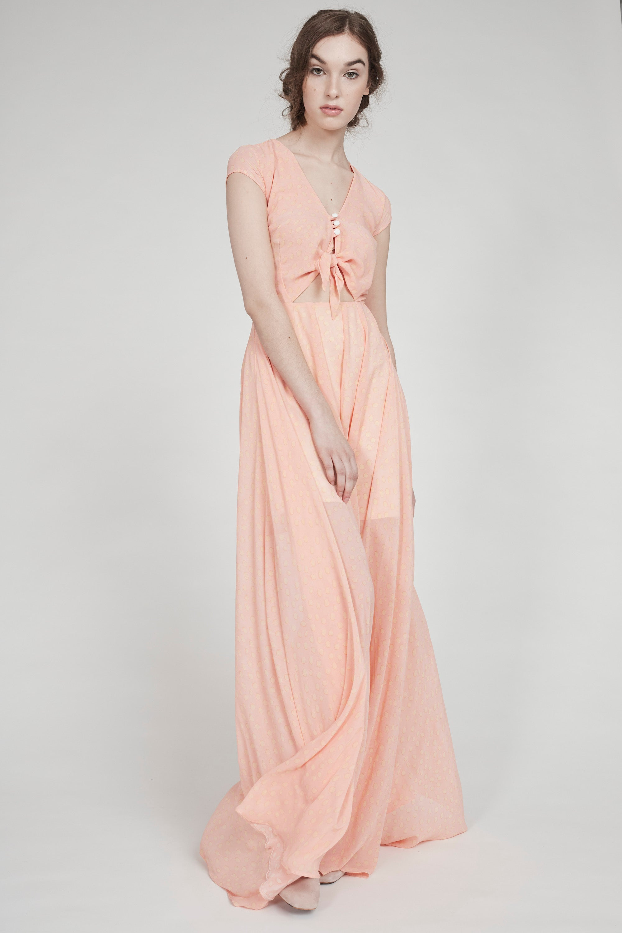 High School Lover | Tie-Front Maxi Dress | Peach