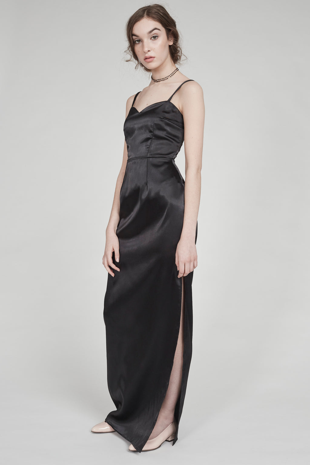 Video Girl | Satin Gown | Black