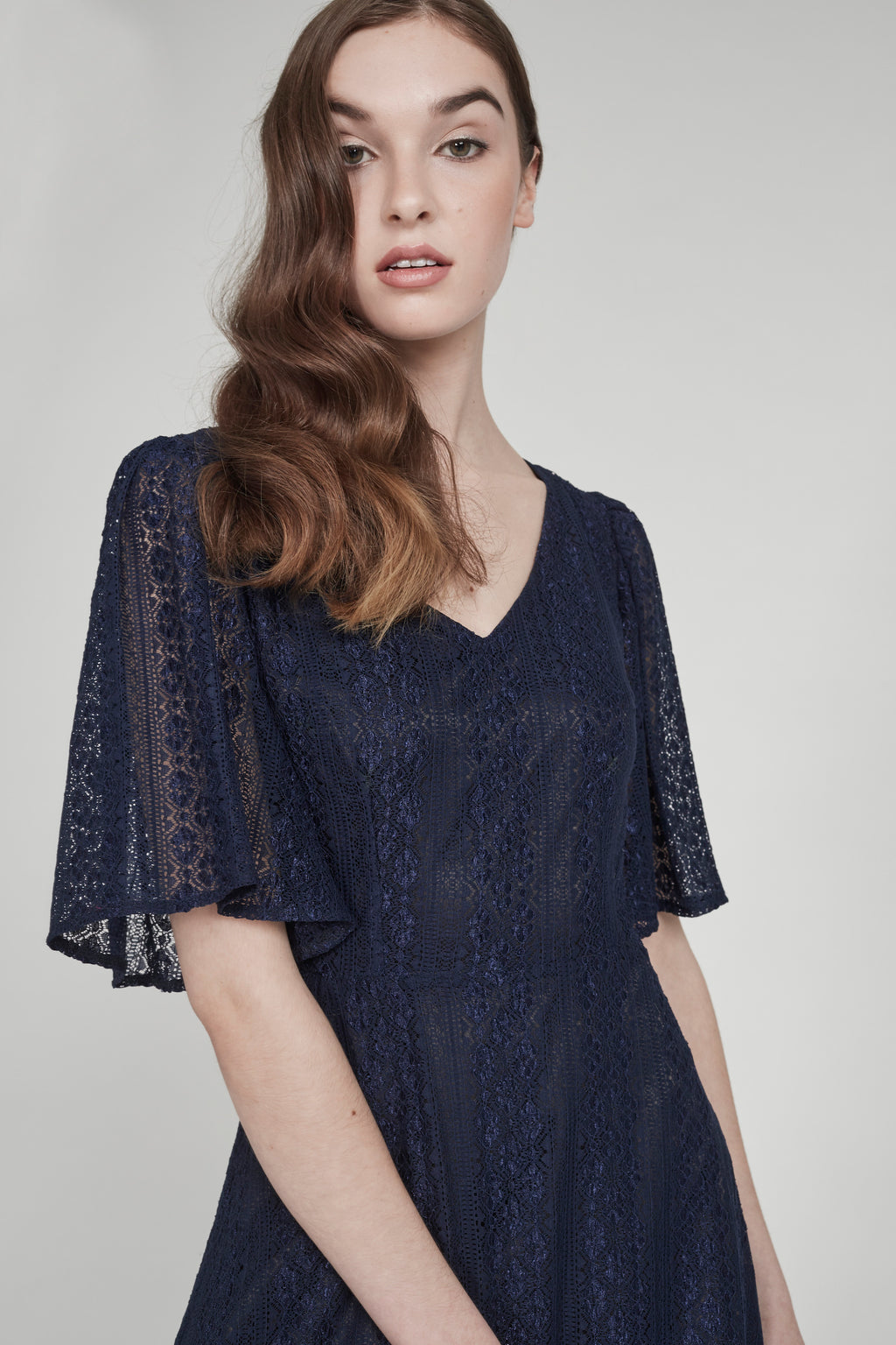 La Mer | Bell-Sleeved Lace Gown | Navy