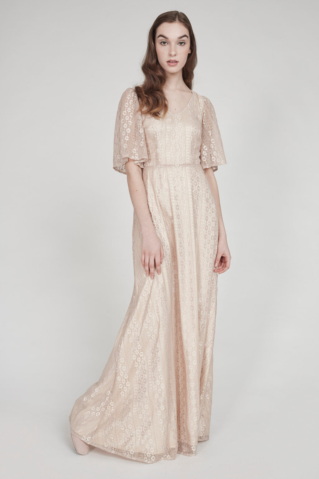 La Mer | Bell-Sleeved Lace Gown | Champagne