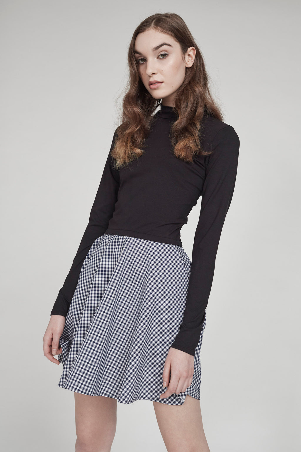 Best Friend | High-Waisted Skirt | Blue Gingham