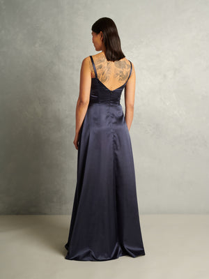 Royals | Satin Bustier Gown | Navy