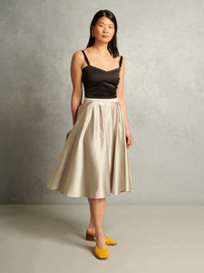 Irresistible | High-Waisted Midi Skirt | Silver