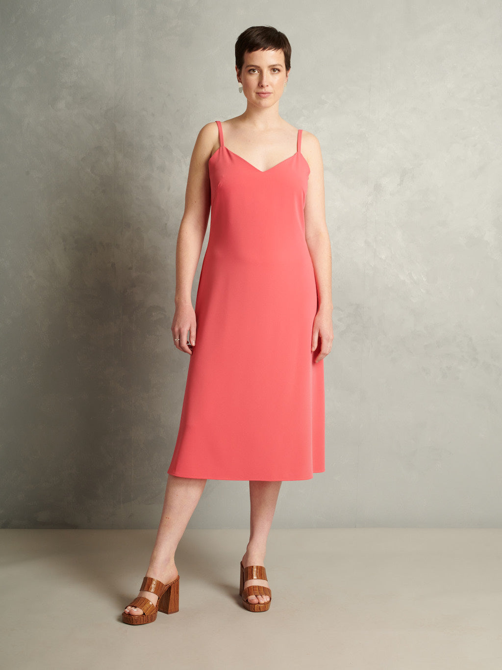Just a Girl | Midi Slip Dress | Coral