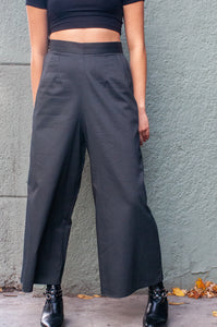 West Coast | Cropped Wide-Leg Pants | Pinstripe