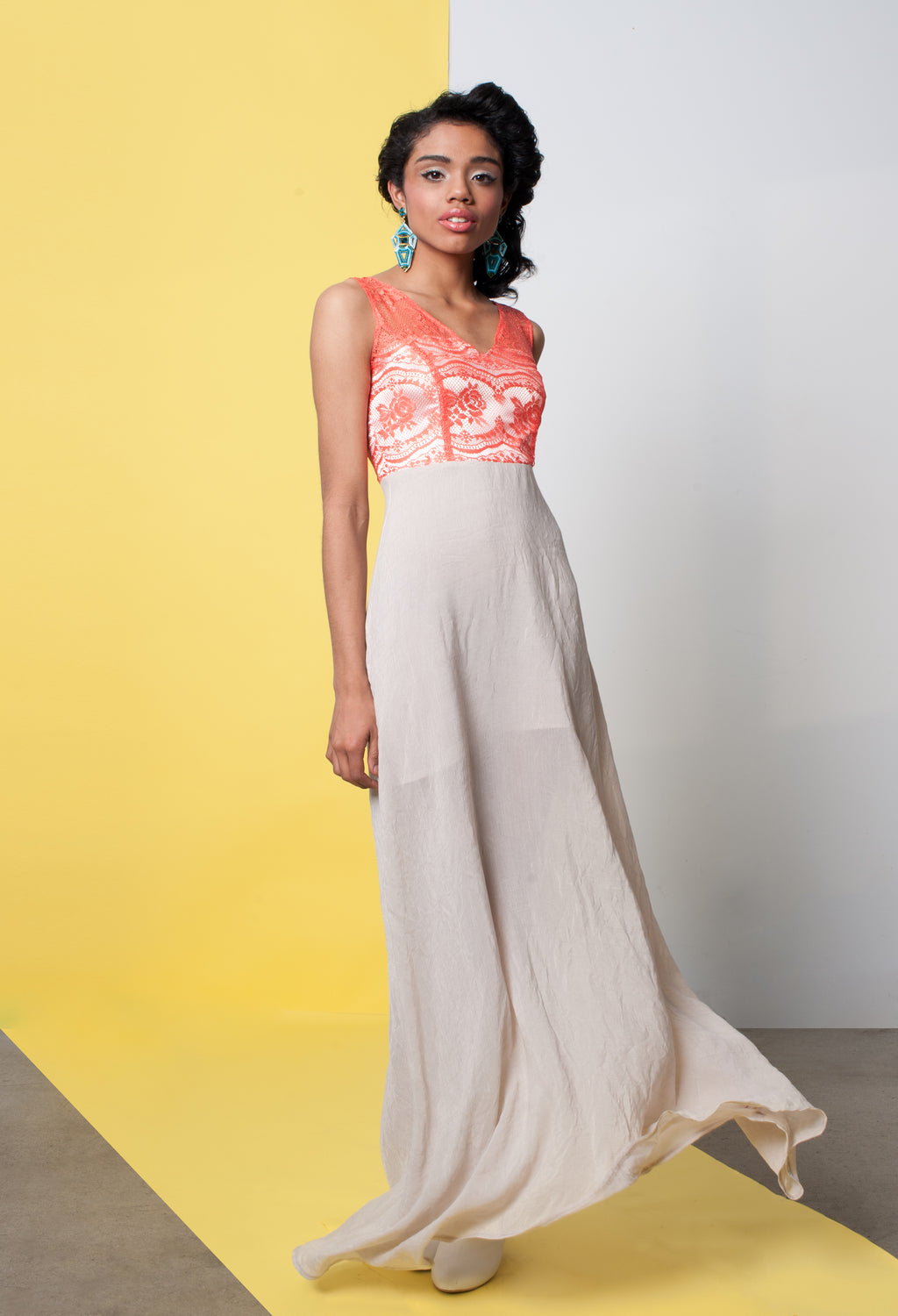 Coral Cutie | Flowy A-Line Gown