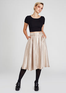 Irresistible | High-Waisted Midi Skirt | Champagne