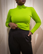 Rock Lobster | Fleece Turtleneck Top | Lime
