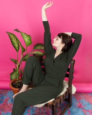 Moment of Bliss | French Terry Jumpsuit | Heather Forest