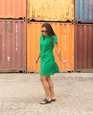 Finally Floating | Babydoll Mini Dress | Green