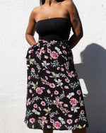 Water and Wine | Midi Skirt | Black Floral