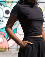 New Wave | High-Waisted Midi Skirt | Black