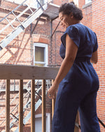 New Sensation | Tulip-Sleeved Jumpsuit | Dark Denim