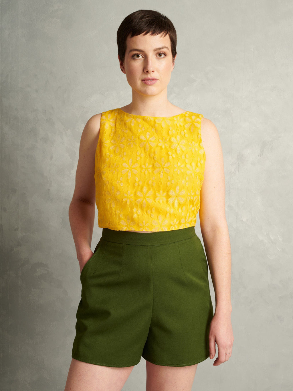 Detroit 442 | Boxy Lace Cami | Lemon