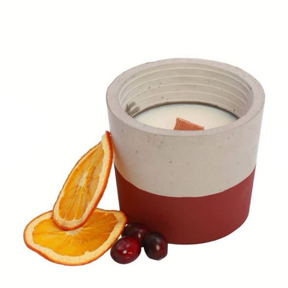 Candle & Cement Holder | Orange & Cranberry