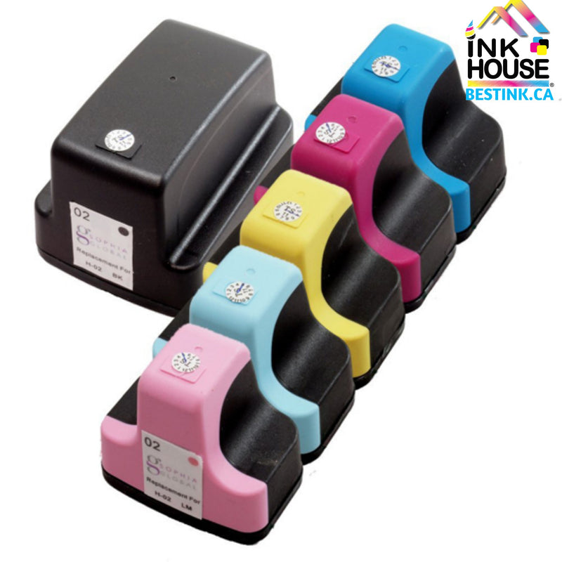 HP 02 XL New Compatible Inkjet Cartridges - Combo Pack of 6 (BK,C,M,Y,LC,LM)