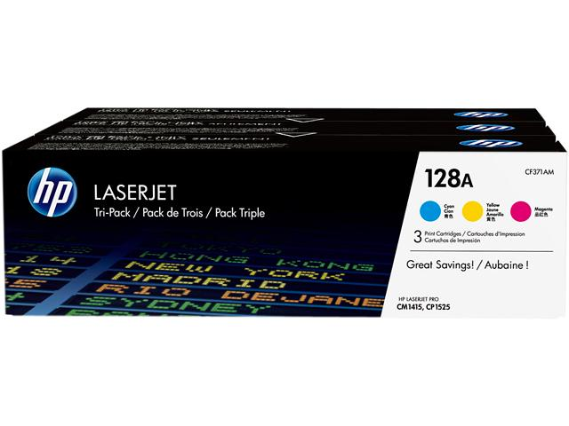 Original HP 128A Combo Toner Cartridges (CE321A,322,323  Cyan,Magenta,Yellow)