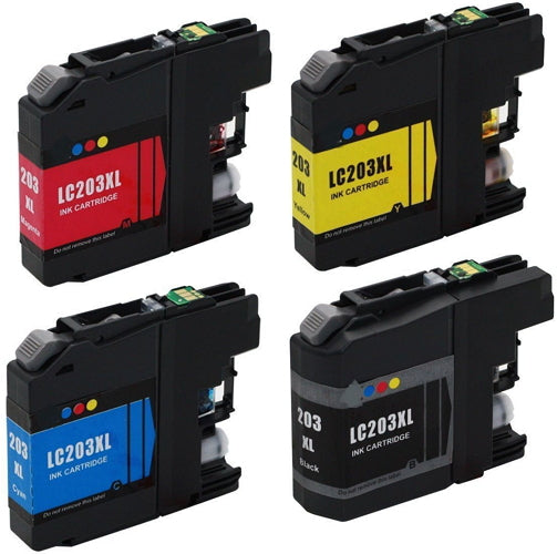 Brother LC-203XL Compatible Ink Cartridge Combo High Yield BK/C/M/Y