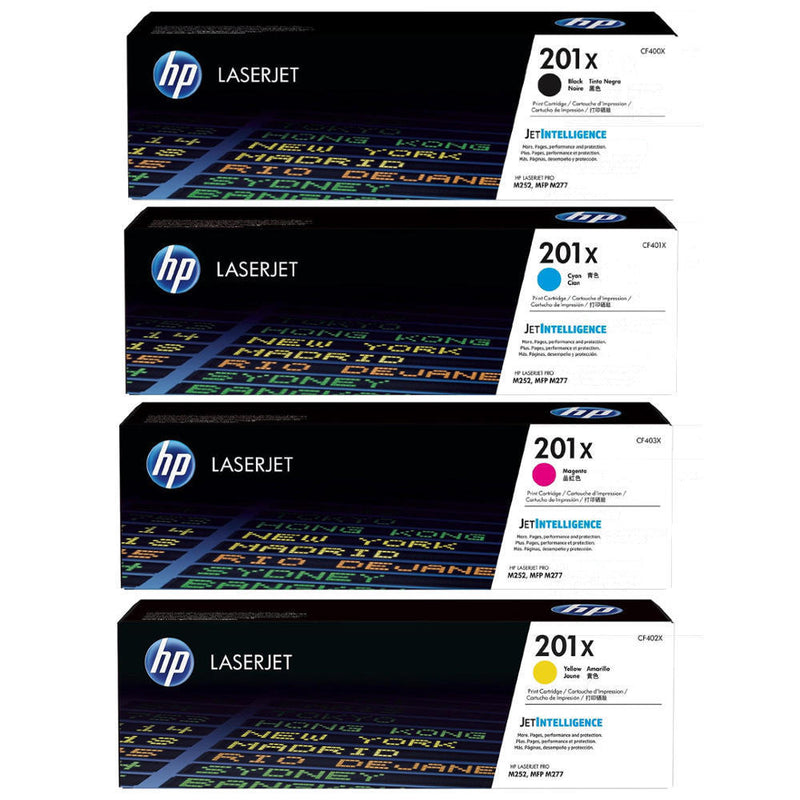 Original HP CF400x,401x,402x,403x Combo  (Hp 201x Black, Cyan, Magenta, Yellow) High Capacity of HP 201A