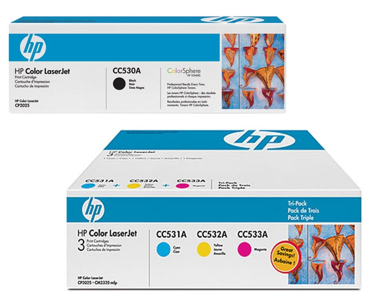 Original HP 304A Combo Toner Cartridges (CC530,531,532,533 Black,Cyan,Magenta,Yellow)