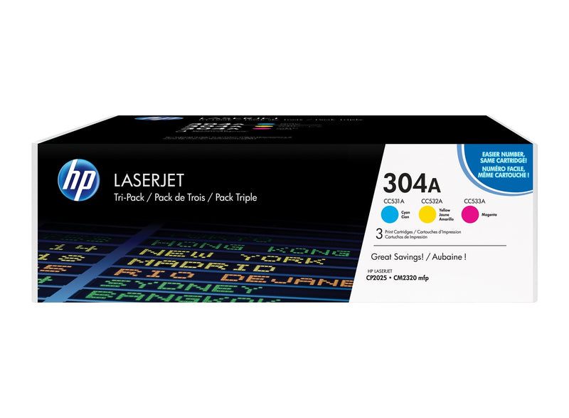 Original HP 304 Combo Toner Cartridges (CC531,532,533 Cyan,Magenta,Yellow)
