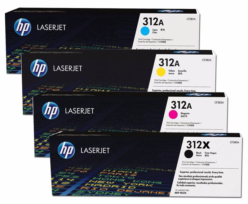 Original HP CF380X,381,382,383 Combo Toner Cartridge (Hp 312a Black High Capacity Cyan,Magenta,Yellow)