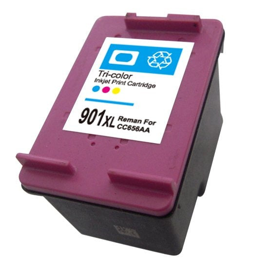 HP 901xl Color Remanufactured Inkjet Cartridge- High Capacity (CC655AN)