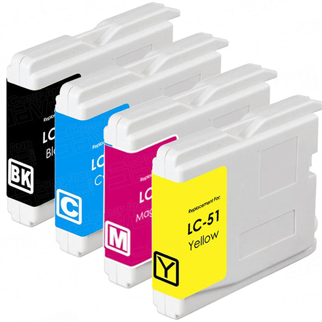 Brother LC51 Compatible Inkjet Cartridges Combo (BK/C/M/Y)