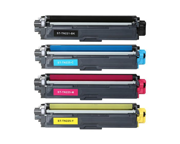 Brother TN221 TN225 Compatible Toner Cartridge Combo BK/C/M/Y