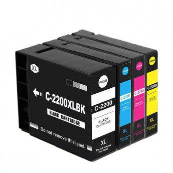 Canon PGI-2200XL Compatible Ink Cartridge Combo High Yield BK/C/M/Y
