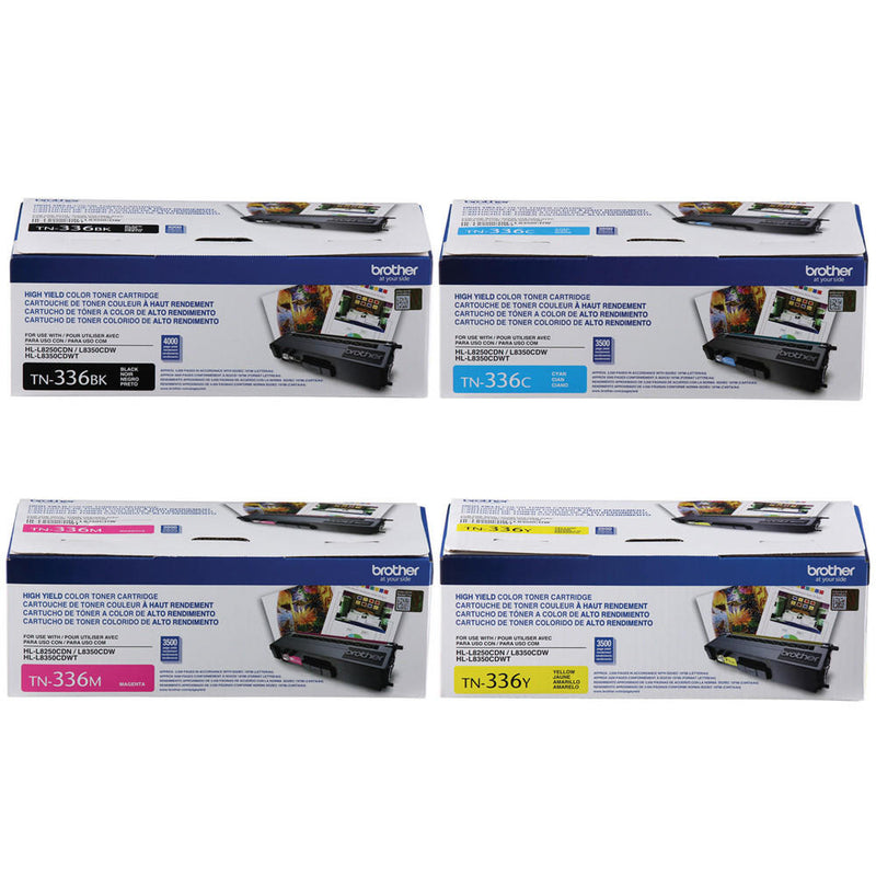 BROTHER TN336 Original Toner Cartridge Combo High Yield (BK/C/M/Y) for use in HL-L8250CDN, HL-L8350CDW, HL-L8350CDWT, MFC-L8600CDW, MFC-L8850CDW
