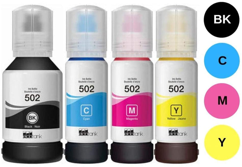 Ink Bottles Replacements for T502 Compatible Ink Bottle Combo BK/C/M/Y -for use in ET-2700 ET-2750 ET-3700, ET-3750 ET-4750