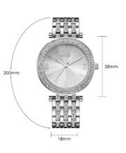 Load image into Gallery viewer, Shengke Series - Womens Crystal Rhinestone Silver Stainless Steel Watch