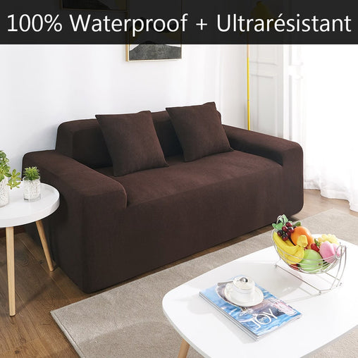 Housse de canapé imperméable marron RIVERTON | Extensible