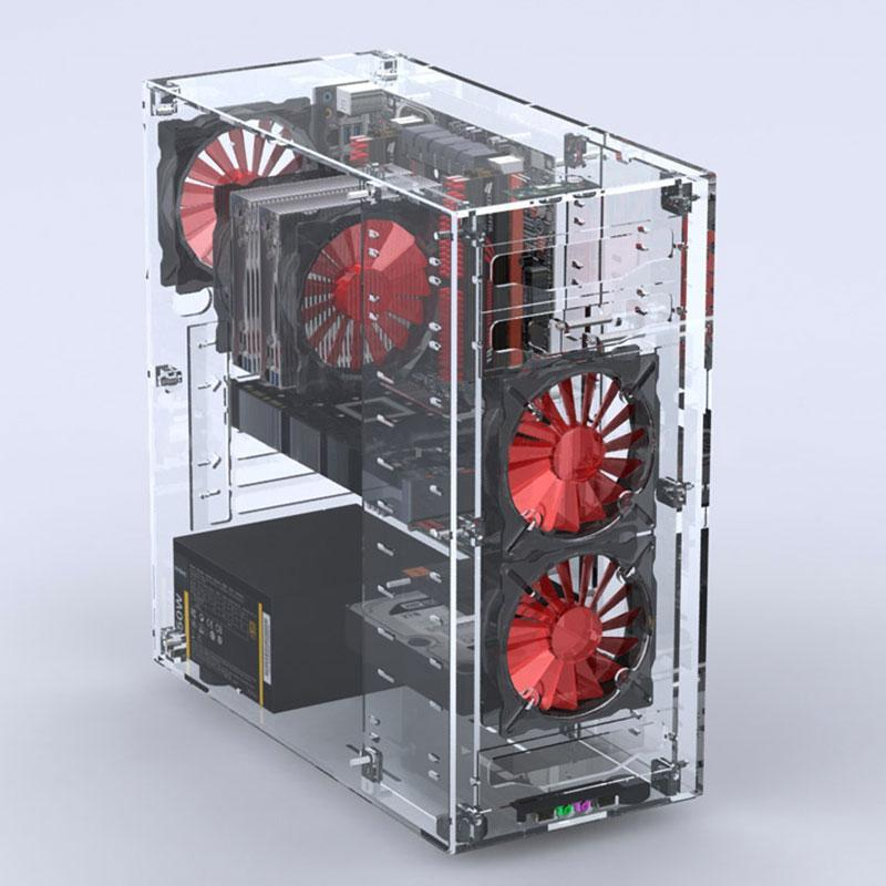 All Transparent Vertical Micro/ATX Computer Case