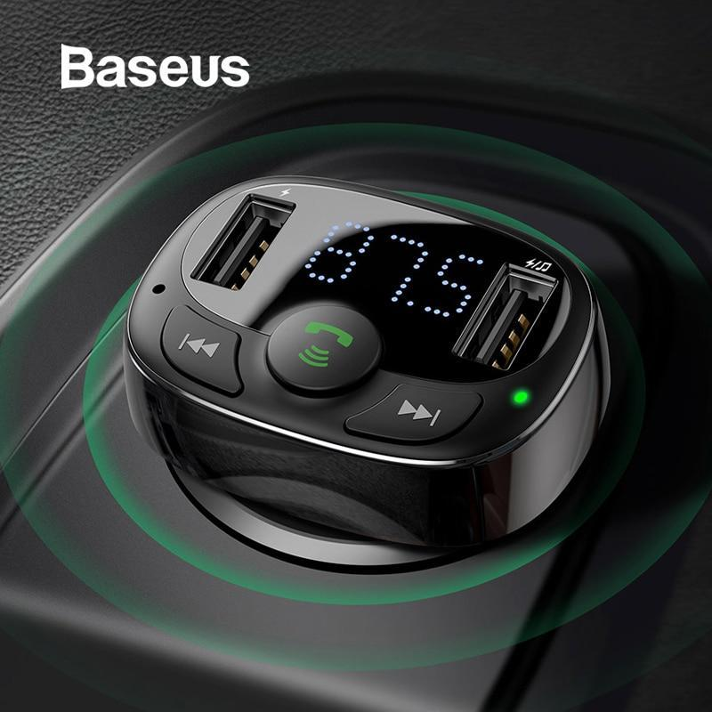 Baseus Dual USB Car Charger with FM Transmitter Bluetooth Handsfree FM Modulator Phone Charger in car For iPhone Xiaomi HUAWEI
