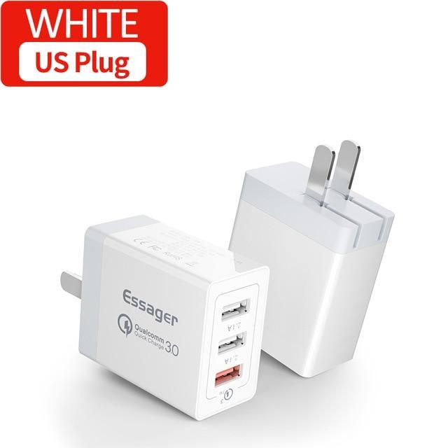 Essager 30W Quick Charge 3.0 Multi USB Charger QC3.0 QC Fast Charger Turbo Wall Charger for iPhone Xiaomi mi 9t Pro Mobile Phone