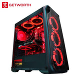 GETWORTH R35 High End Gaming Computer I7 9700K GTX1060 240GB SSD 8GB RAM Z390 Brand New Red Series PC Water Cooling
